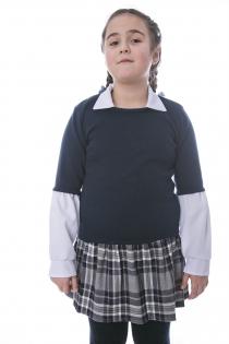 Джемпер для девочки темно-синий  комбинированный